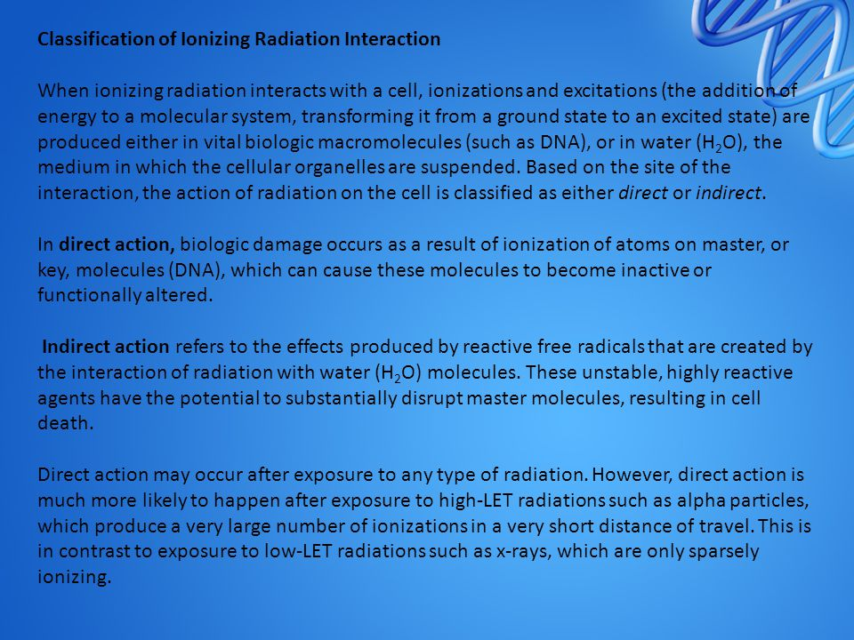 Classification of Ionizing Radiation Interaction