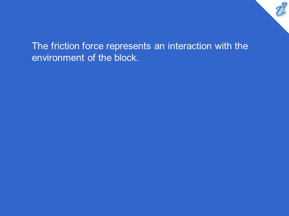 The friction force represents an interaction with the environment of the block.
