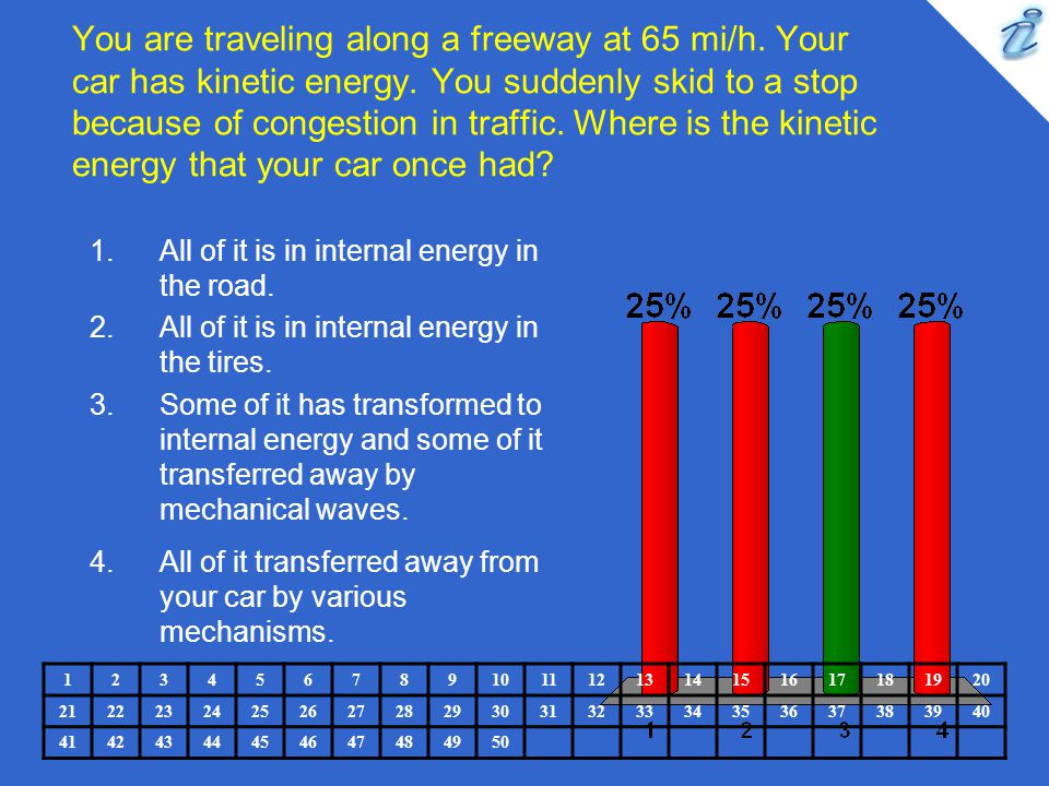 You are traveling along a freeway at 65 mi/h