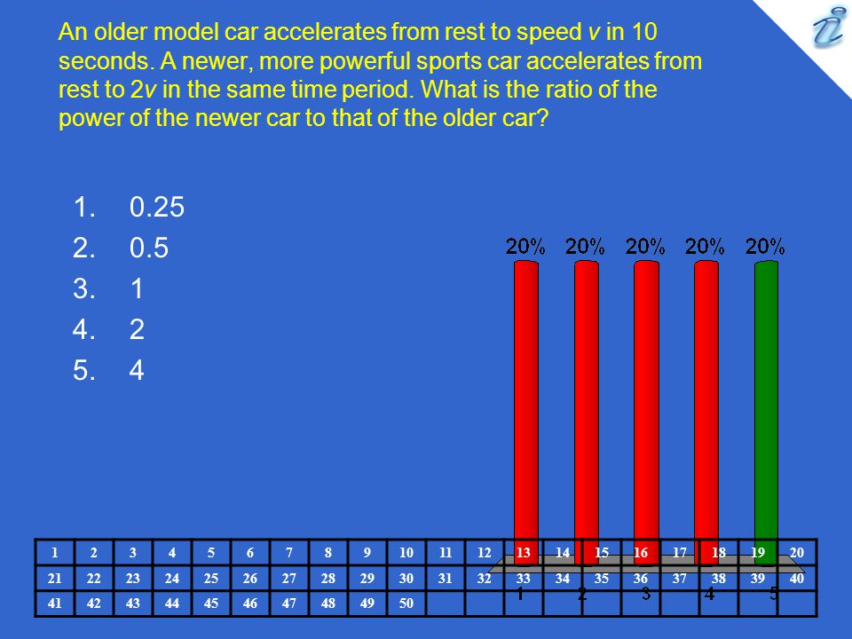 An older model car accelerates from rest to speed v in 10 seconds