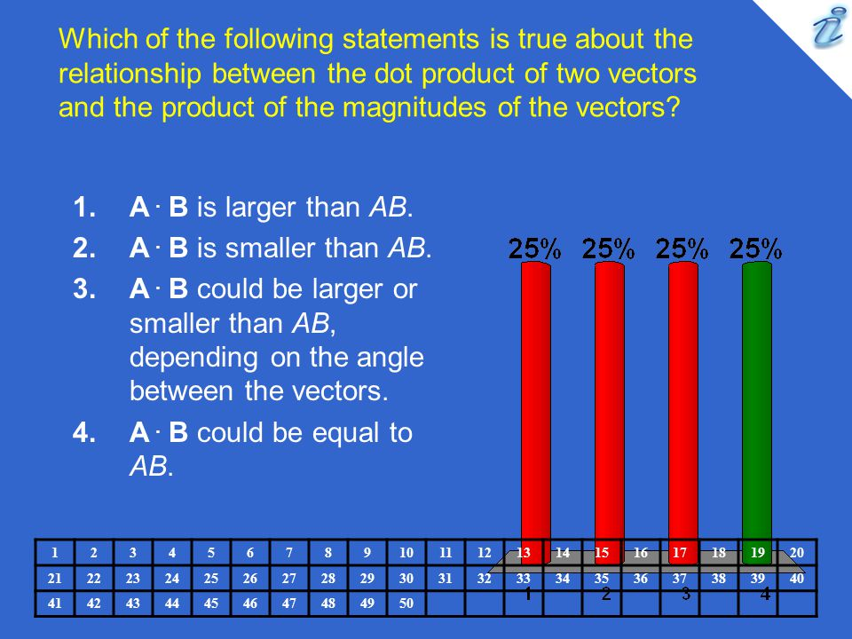 Which of the following statements is true about the relationship between the dot product of two vectors and the product of the magnitudes of the vectors
