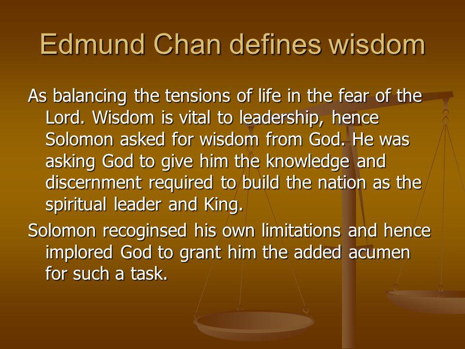 Edmund Chan defines wisdom