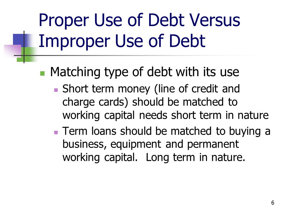 Proper Use of Debt Versus Improper Use of Debt