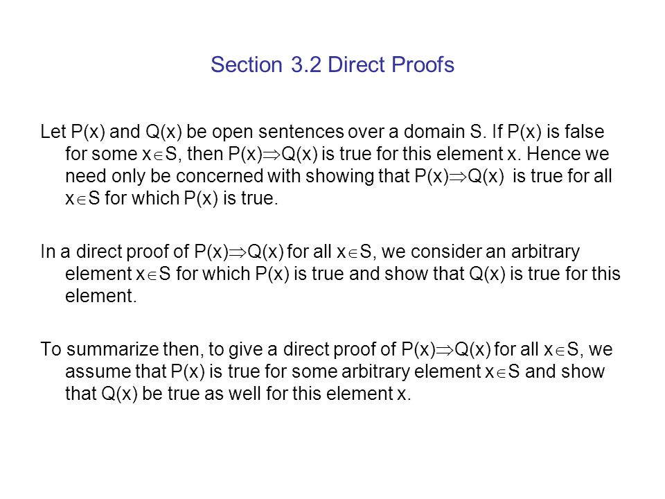 Section 3.2 Direct Proofs