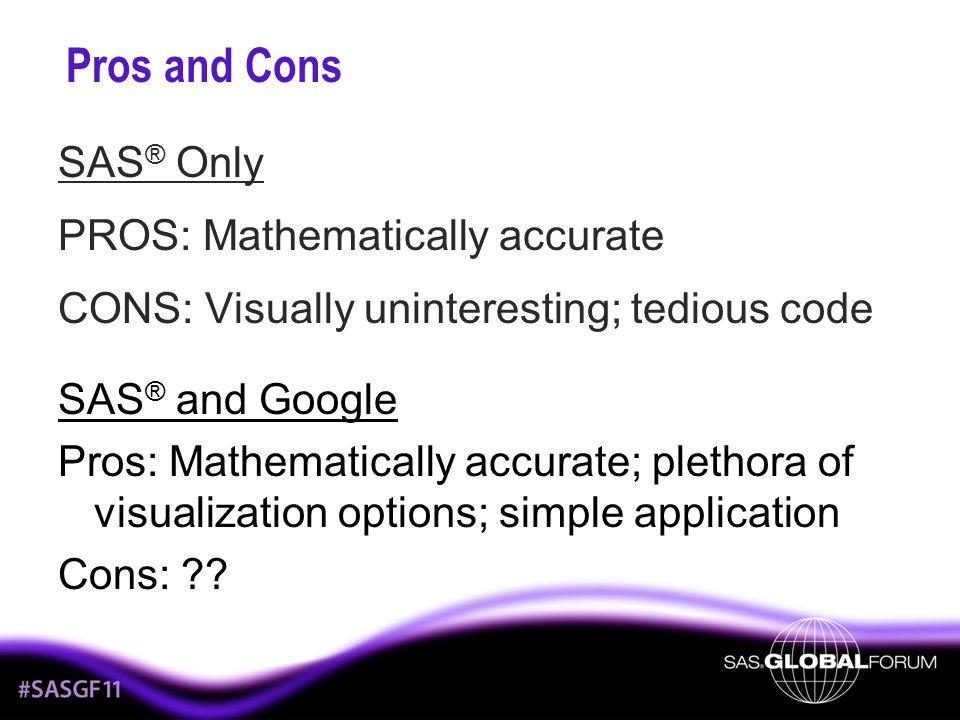 Pros and Cons SAS® Only PROS: Mathematically accurate CONS: Visually uninteresting; tedious code SAS® and Google.