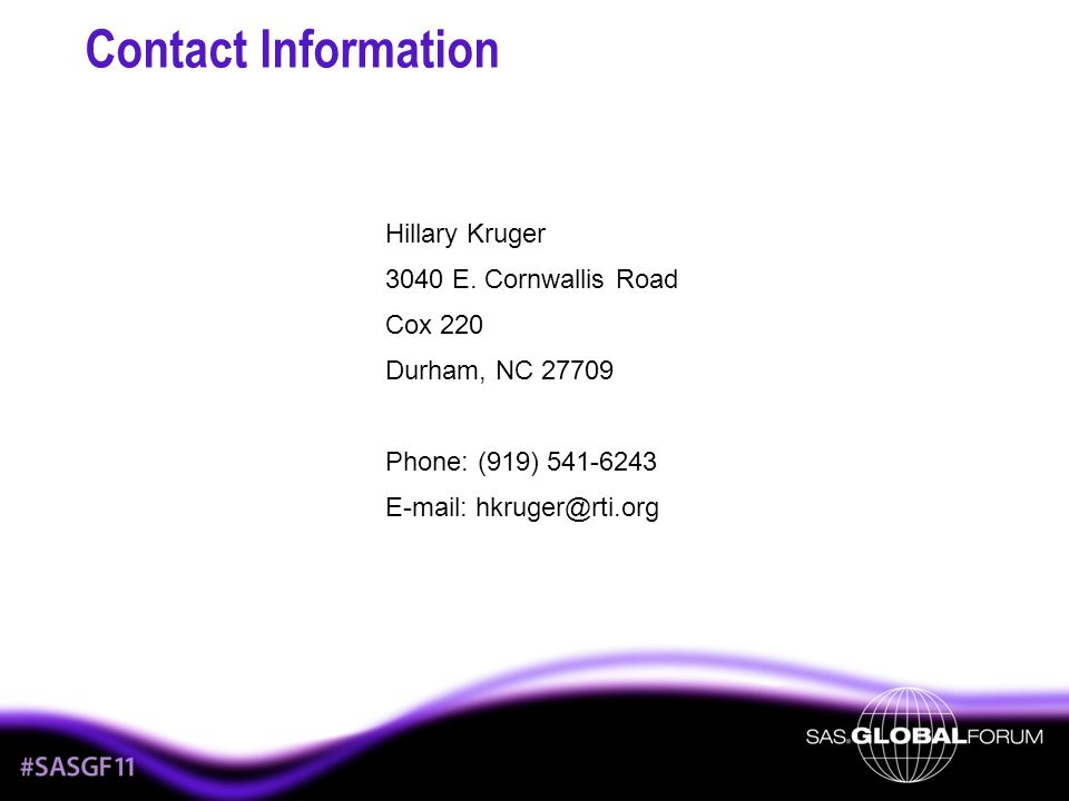 Contact Information Hillary Kruger 3040 E.