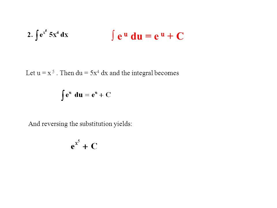 ∫ e u du = e u + C Let u = x 5 . Then du = 5x4 dx and the integral becomes.
