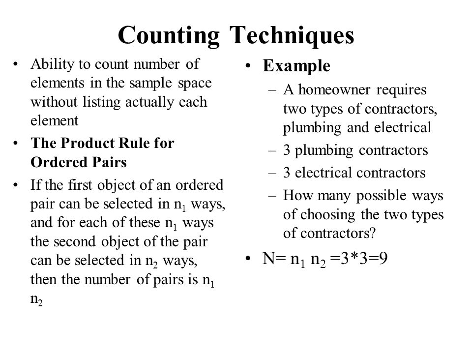 Counting Techniques Example N= n1 n2 =3*3=9