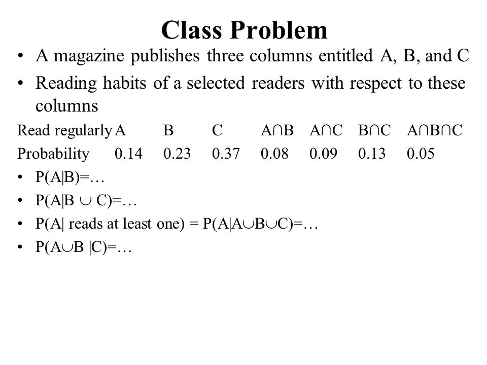 Class Problem A magazine publishes three columns entitled A, B, and C