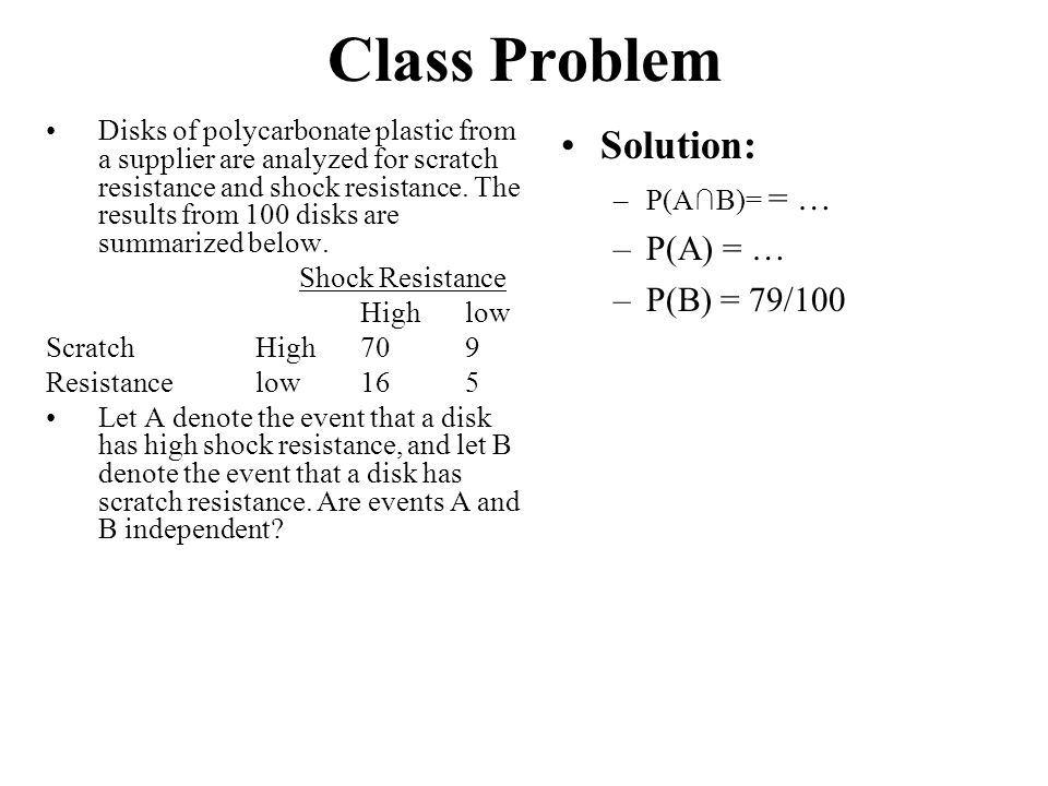 Class Problem Solution: P(A) = … P(B) = 79/100
