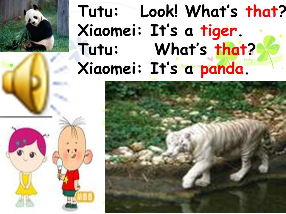 Tutu: Look! What's that Xiaomei: It's a tiger. Tutu: What's that Xiaomei: It's a panda.