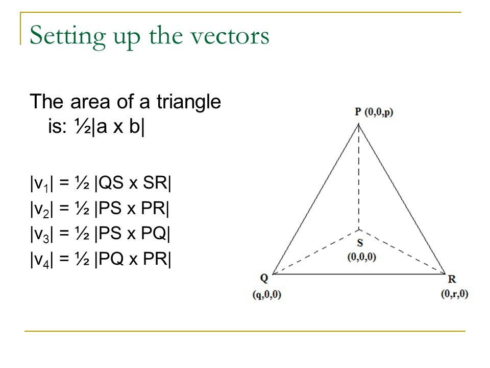 Setting up the vectors The area of a triangle is: ½|a x b|