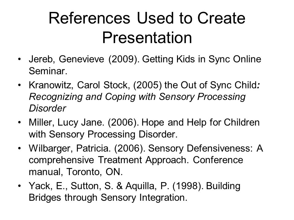 References Used to Create Presentation