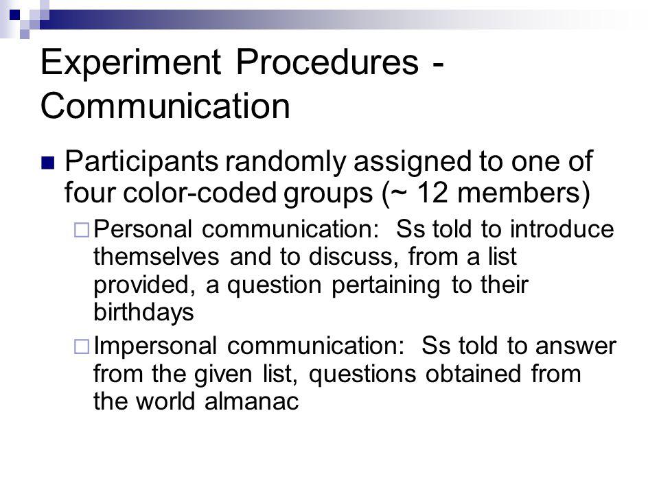 Experiment Procedures - Communication