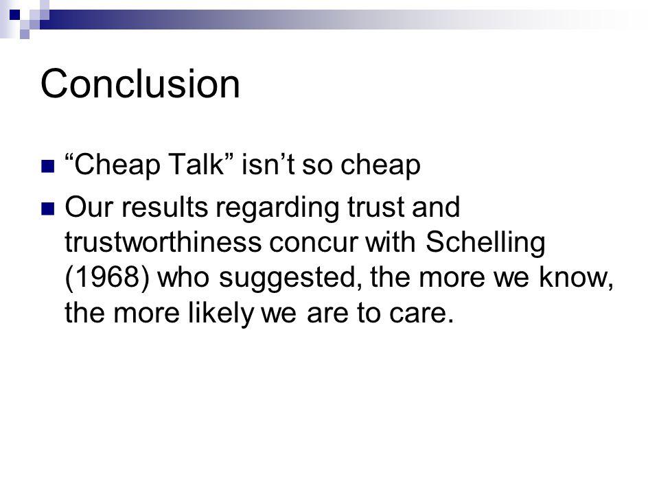 Conclusion Cheap Talk isn't so cheap