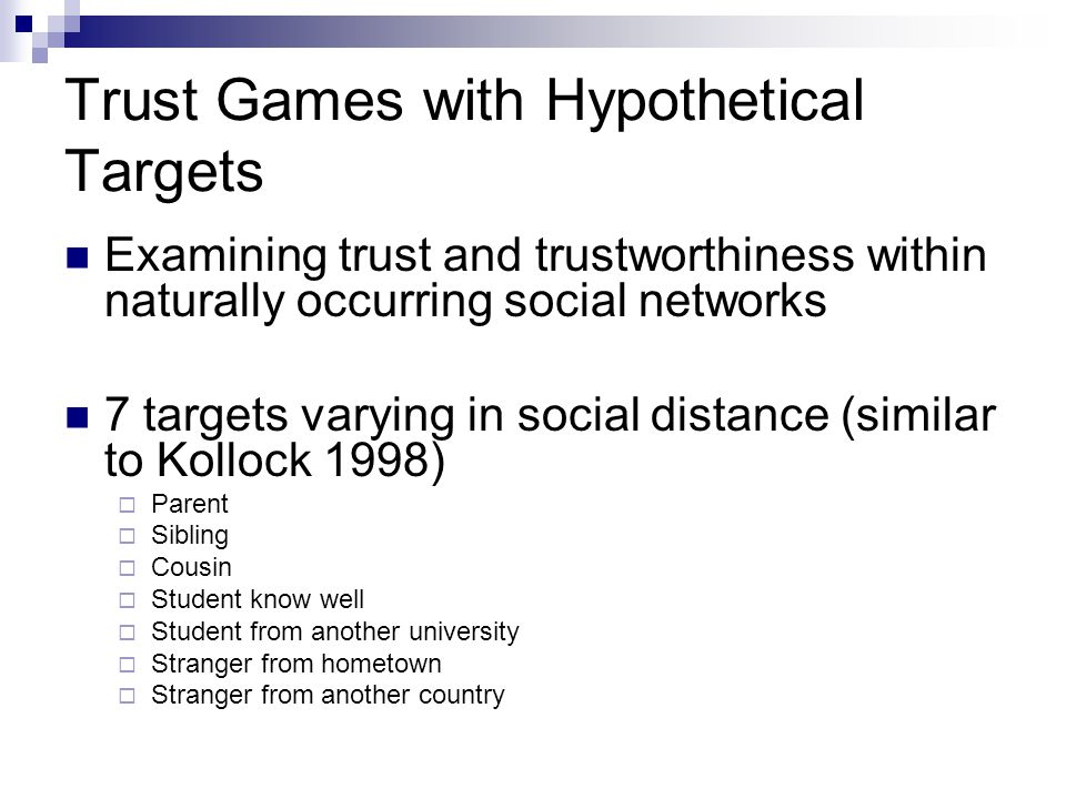 Trust Games with Hypothetical Targets