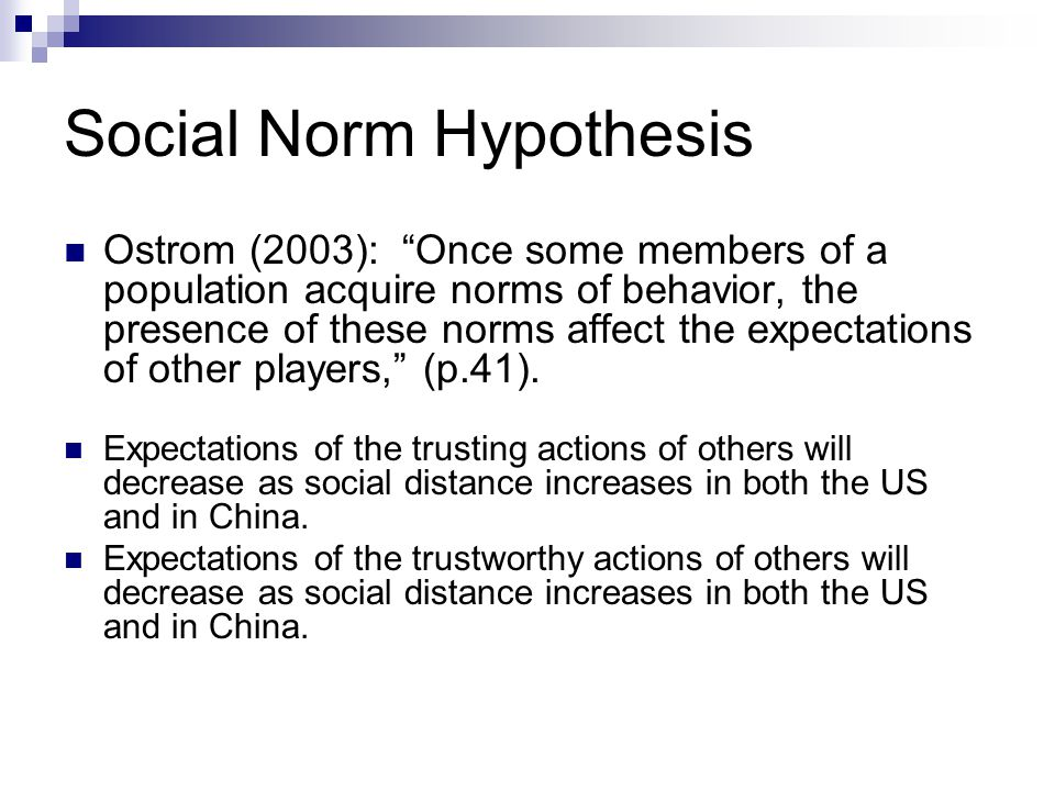 Social Norm Hypothesis