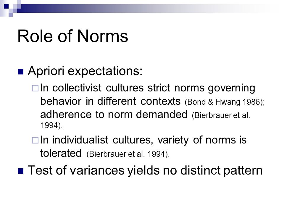 Role of Norms Apriori expectations: