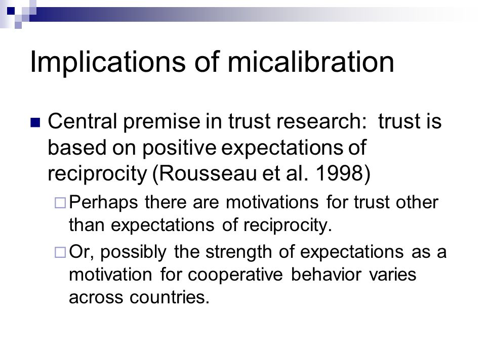 Implications of micalibration
