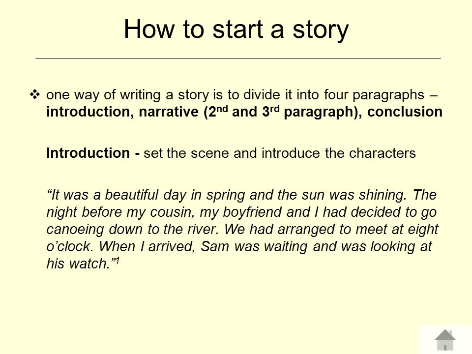 How to start a story one way of writing a story is to divide it into four paragraphs – introduction, narrative (2nd and 3rd paragraph), conclusion.