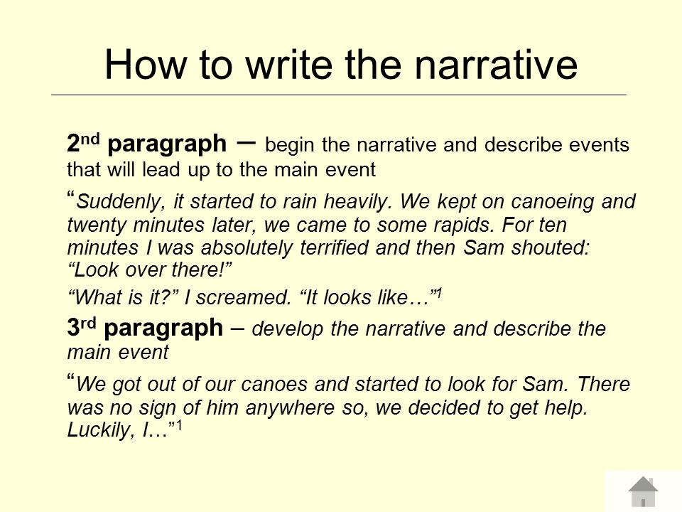 How to write the narrative