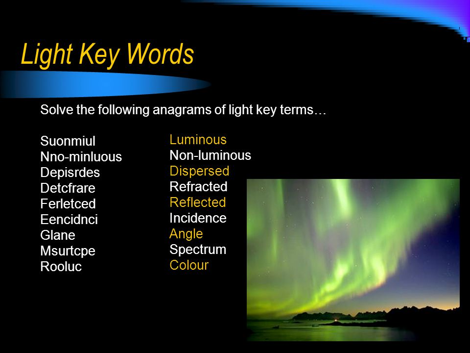 Light Key Words Solve the following anagrams of light key terms…