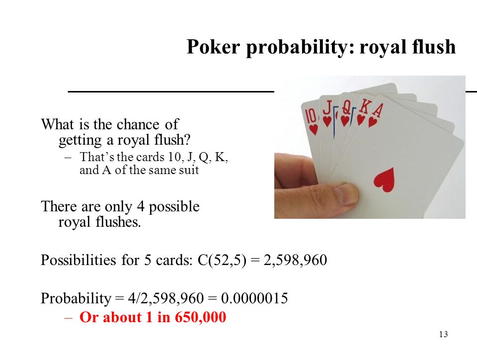 Poker probability: royal flush