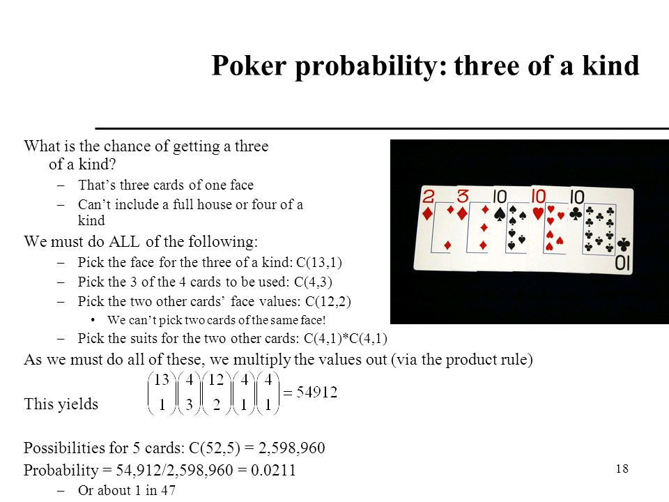 Poker probability: three of a kind