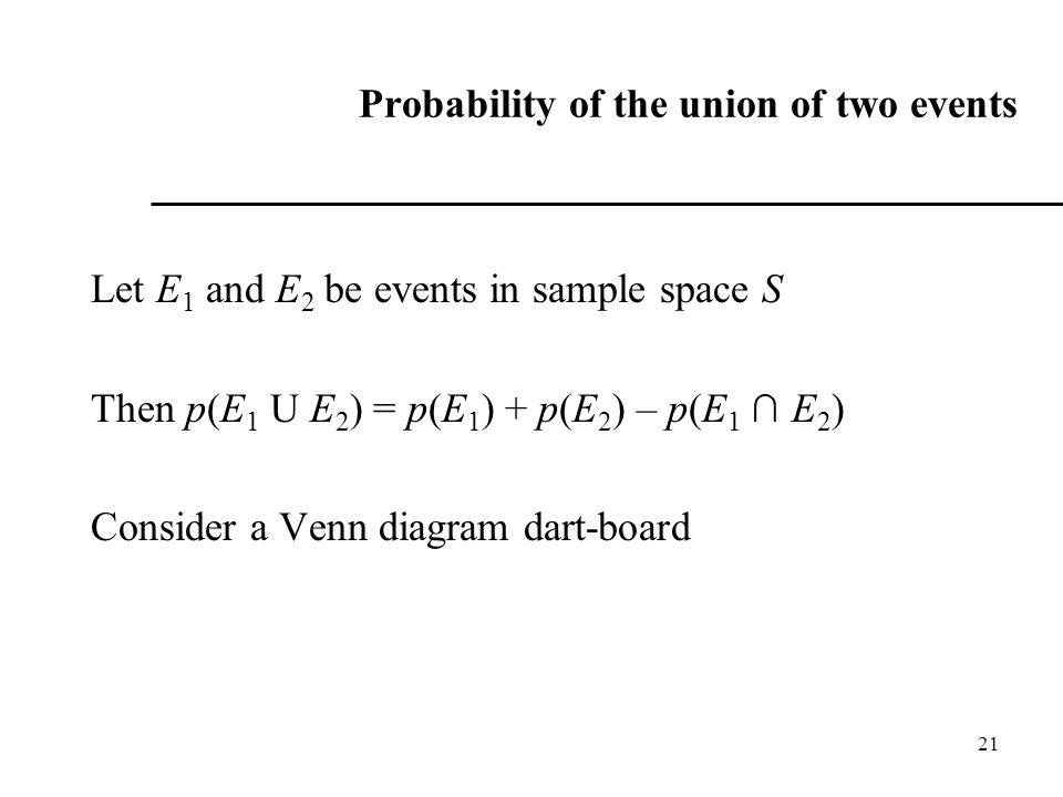 Probability of the union of two events