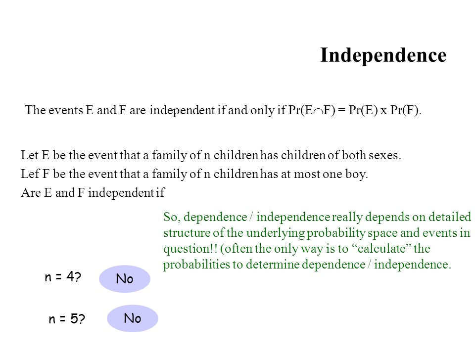 Independence The events E and F are independent if and only if Pr(EF) = Pr(E) x Pr(F).