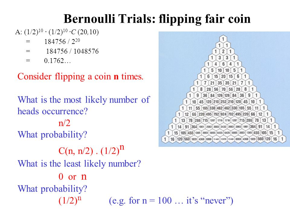 Bernoulli Trials: flipping fair coin