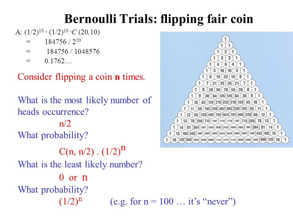 Bernoulli Trials: flipping fair coin