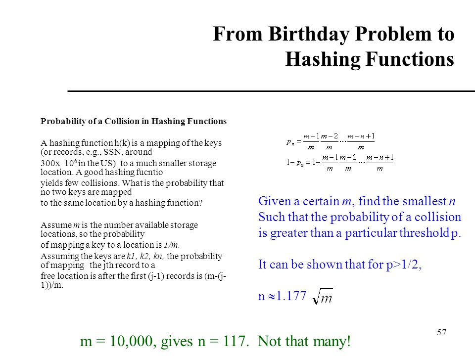 From Birthday Problem to Hashing Functions
