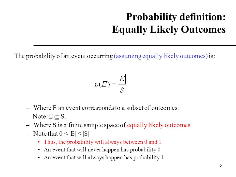 Probability definition: Equally Likely Outcomes