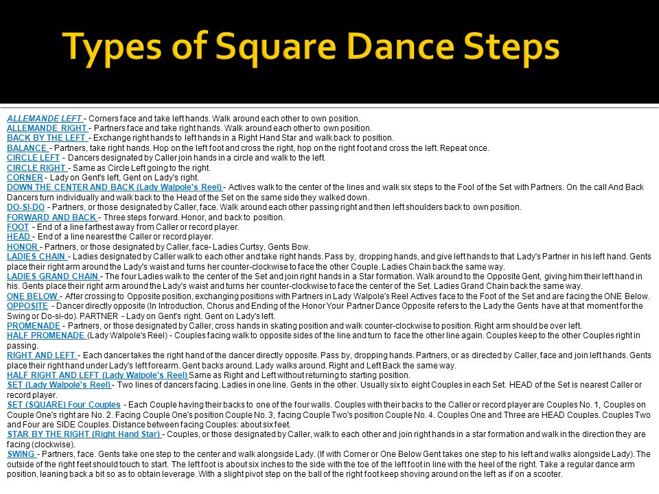 Types of Square Dance Steps