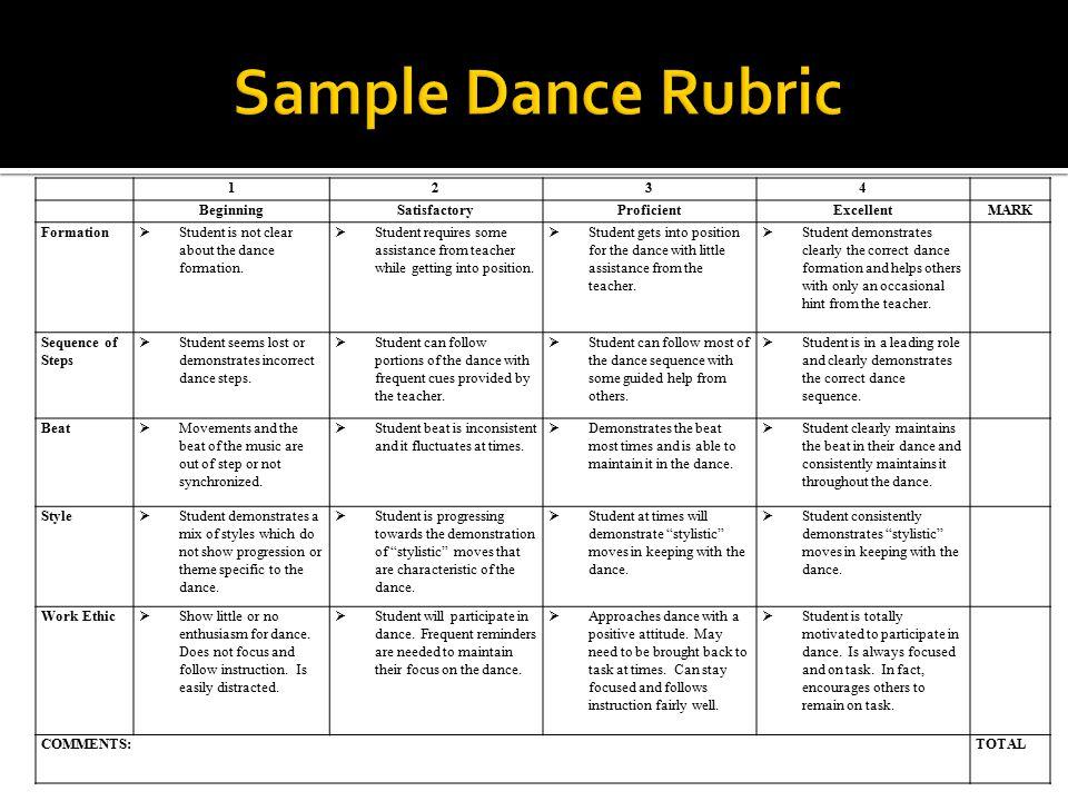 Sample Dance Rubric Sample Folk Dance Rubric 1 2 3 4 Beginning