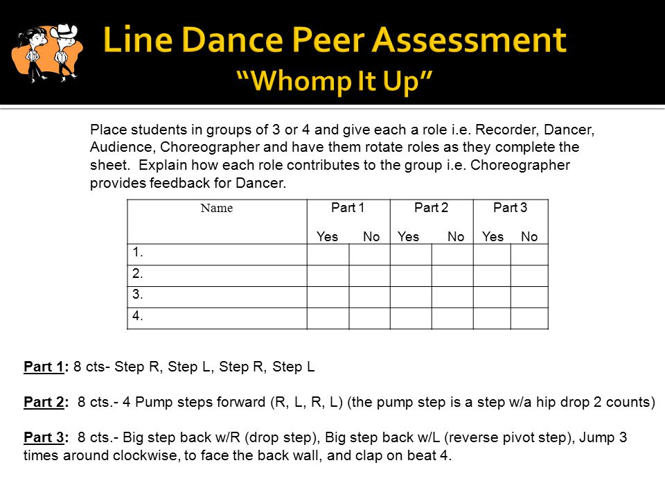Line Dance Peer Assessment Whomp It Up