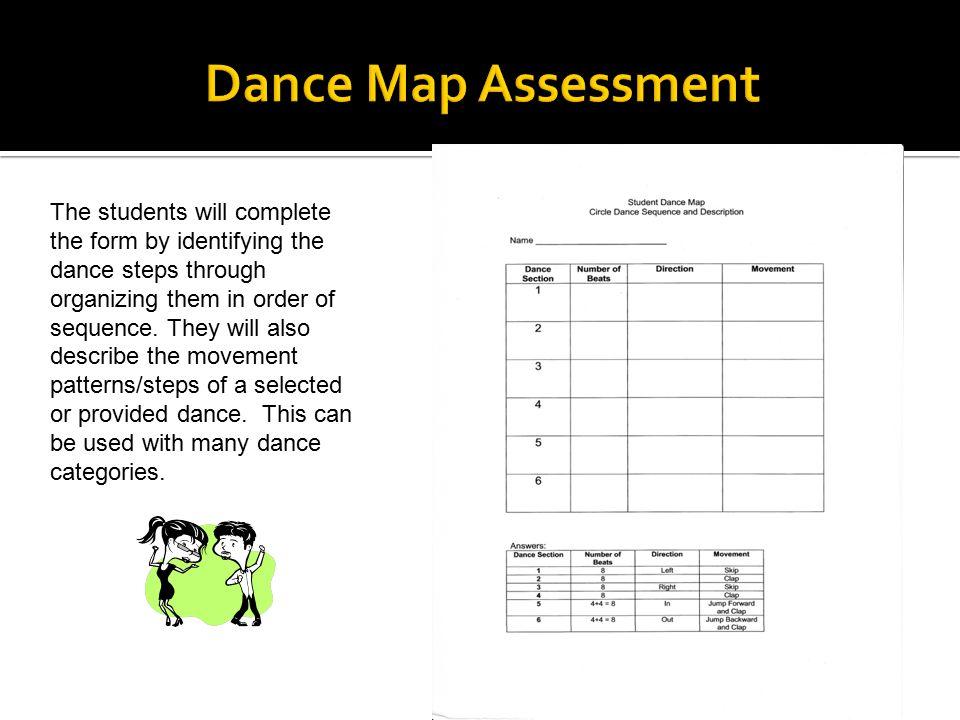 Dance Map Dance Sequence and Description. Dance Map Assessment.