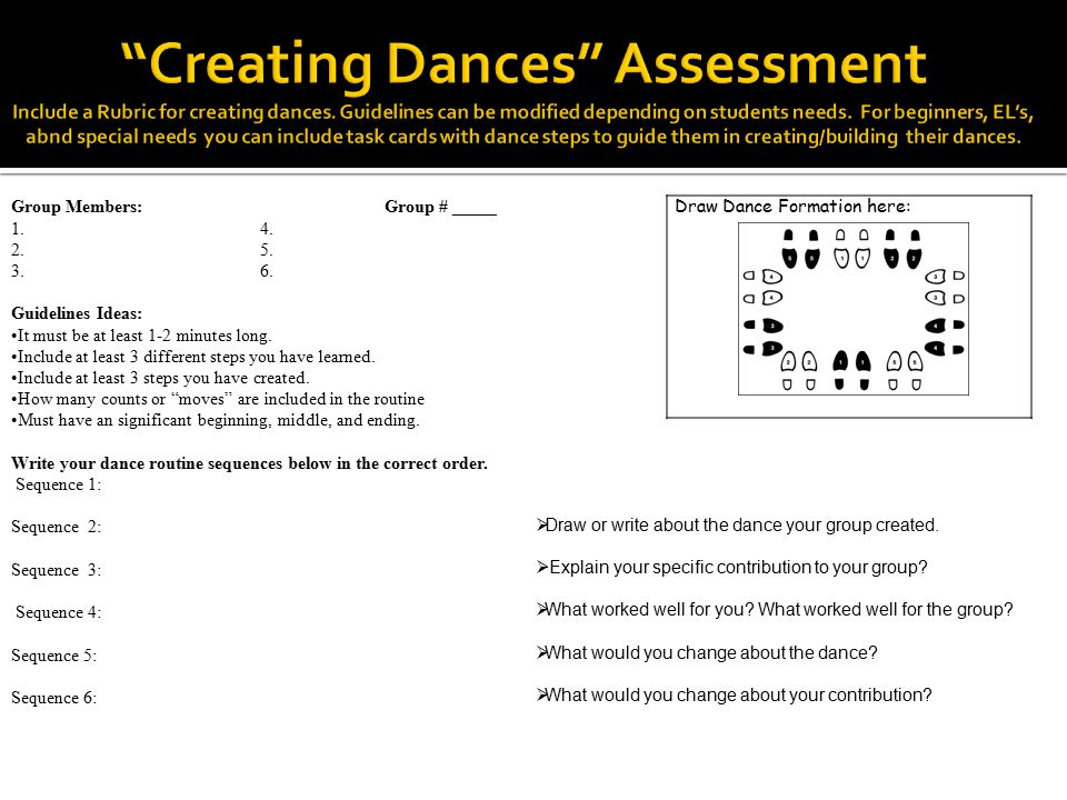 Creating Dances Assessment Include a Rubric for creating dances