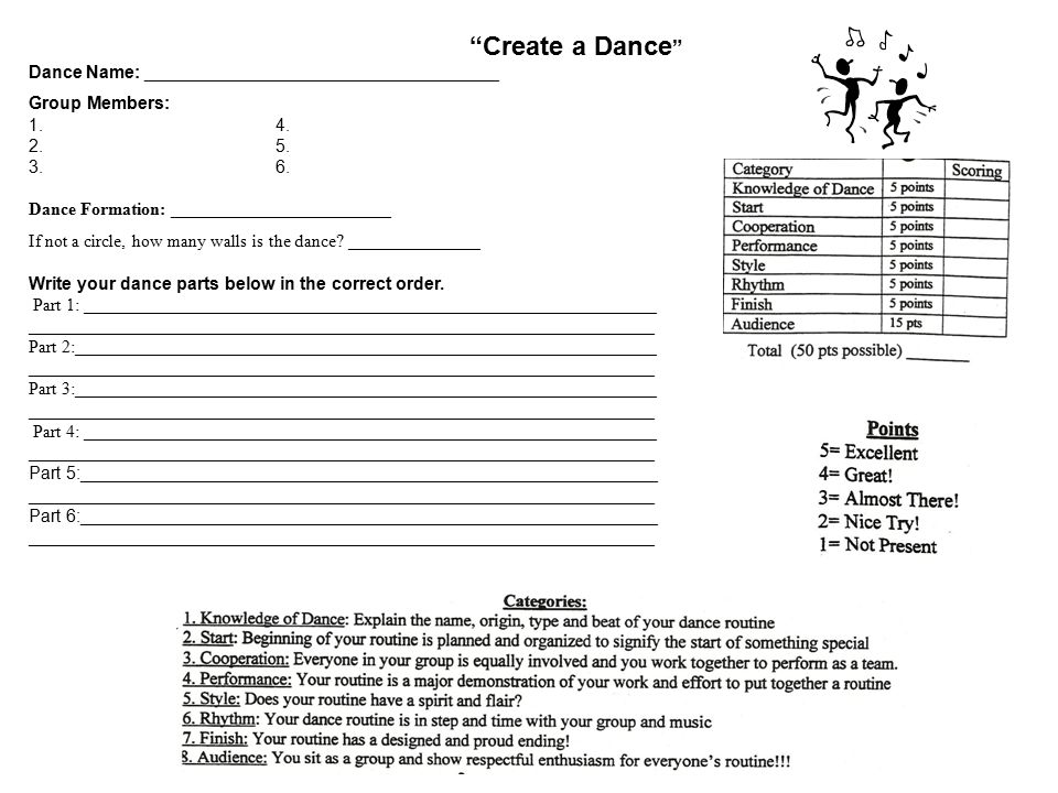 Create A Dance Dance Name A Group Members A on Create Dance Steps Diagram