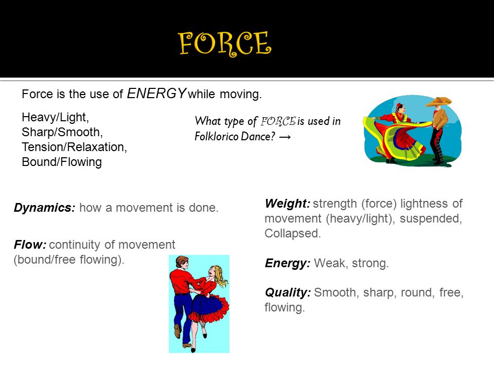 FORCE Force is the use of ENERGY while moving. Heavy/Light,