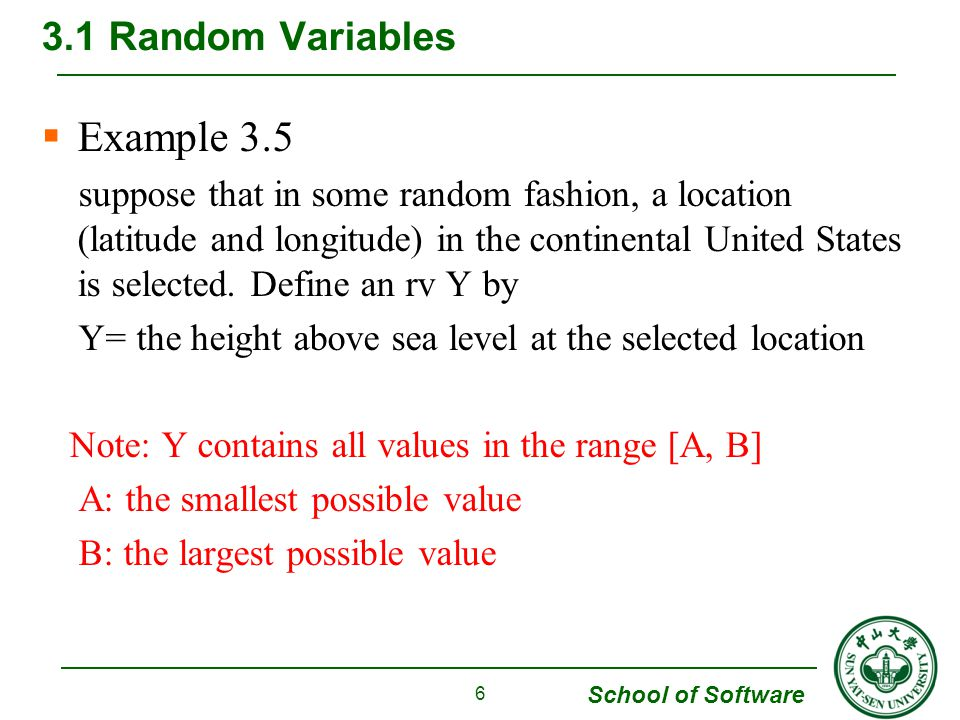 Example 3.5 3.1 Random Variables