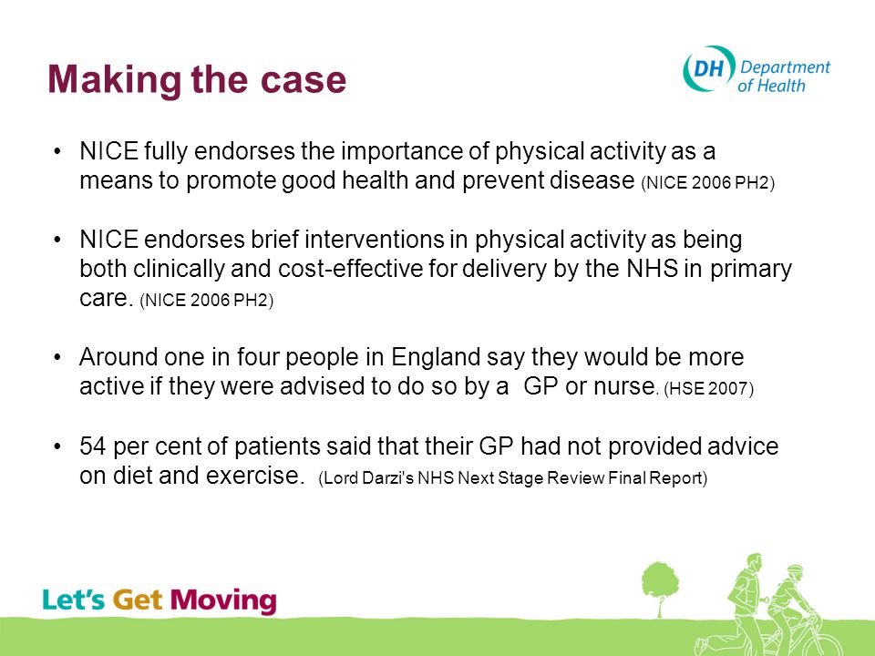 Making the case NICE fully endorses the importance of physical activity as a means to promote good health and prevent disease (NICE 2006 PH2)