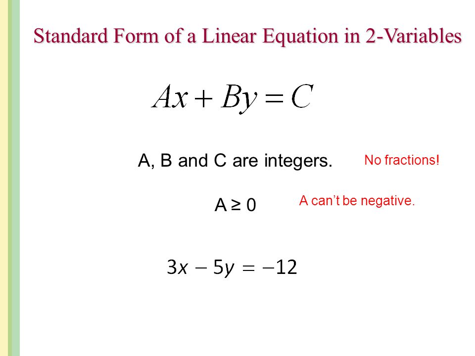 Standard Form of a Linear Equation in 2-Variables