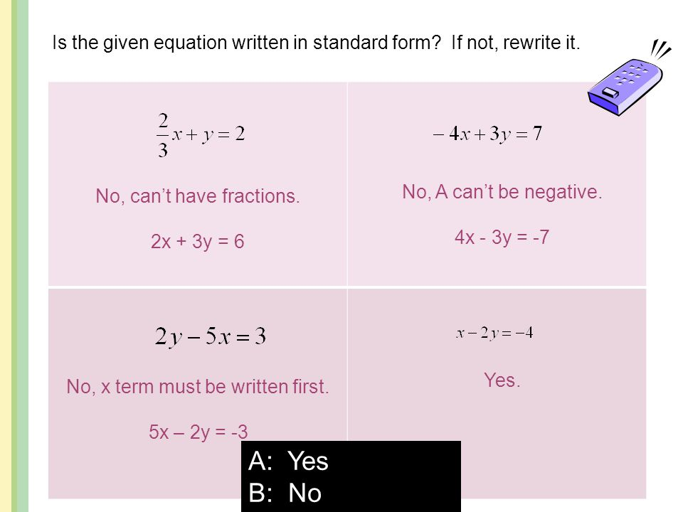 Is the given equation written in standard form If not, rewrite it.
