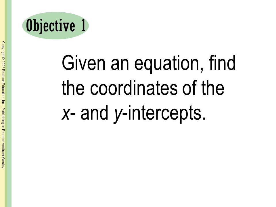 Given an equation, find the coordinates of the x- and y-intercepts.