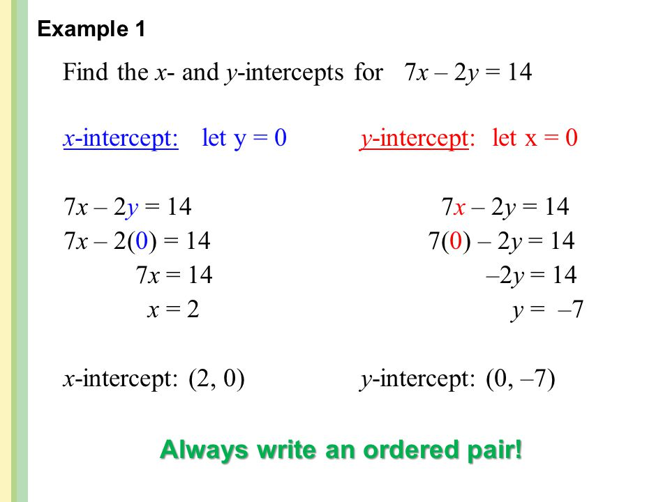 Find the x- and y-intercepts for 7x – 2y = 14