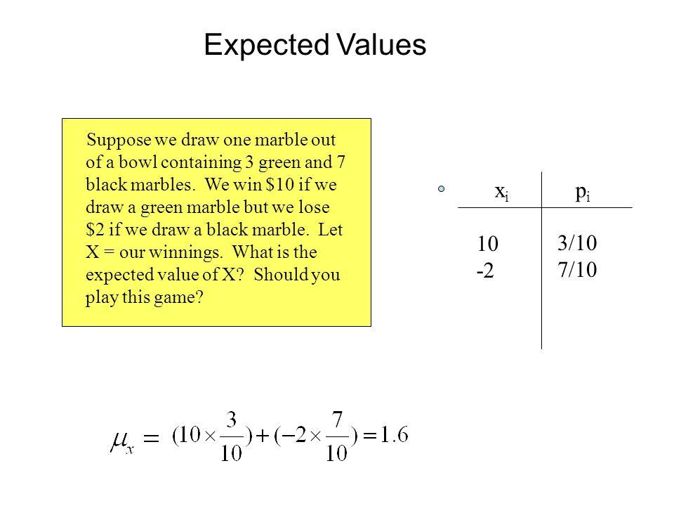 Expected Values xi pi 10 3/10 -2 7/10