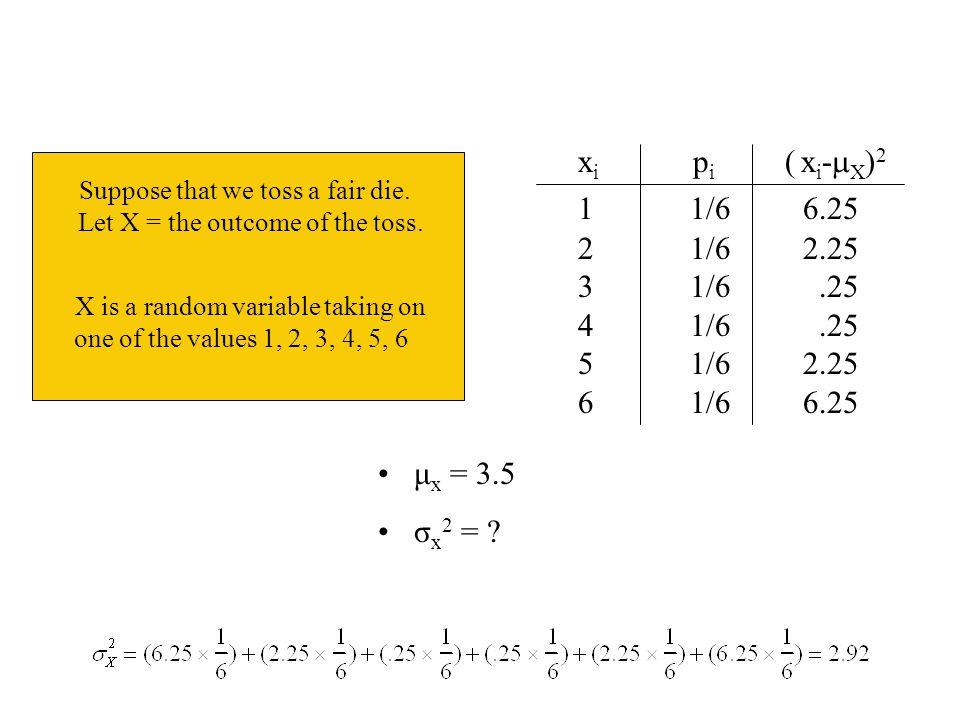 xi pi ( xi-X)2 1 1/6 6.25. 2 1/6 2.25.