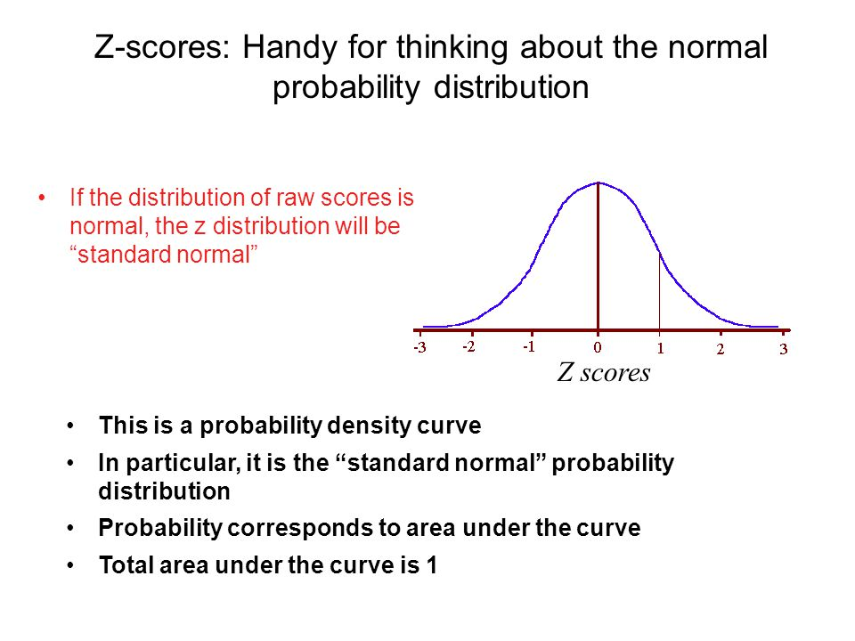 Z-scores: Handy for thinking about the normal probability distribution